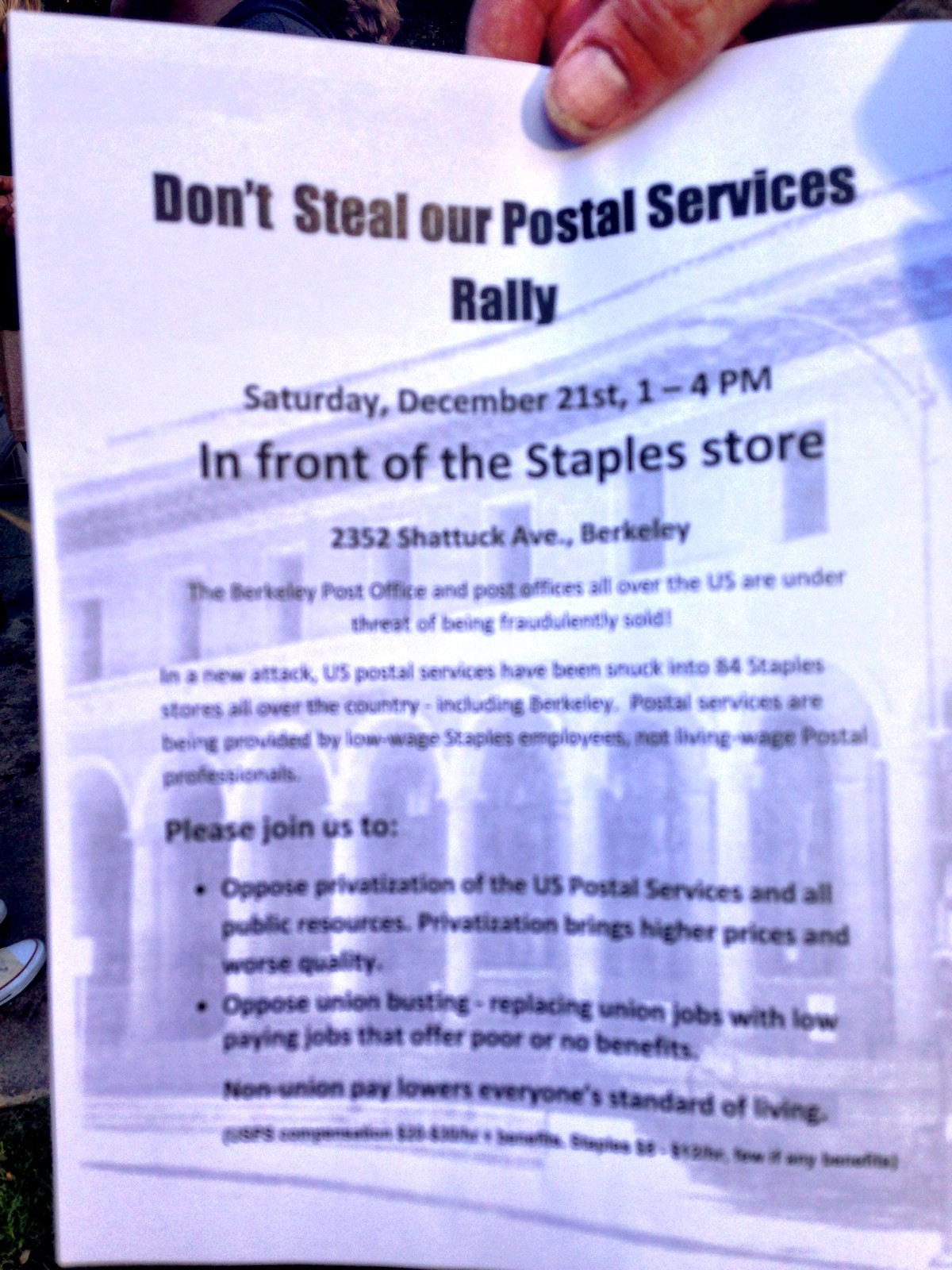 Don't  Steal our Postal Services Rally! @ Staples, Downtown Berkeley | Berkeley | California | United States